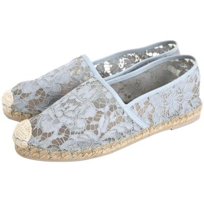 VALENTINO Garavani Lace 蕾絲草編休閒鞋(灰藍色)