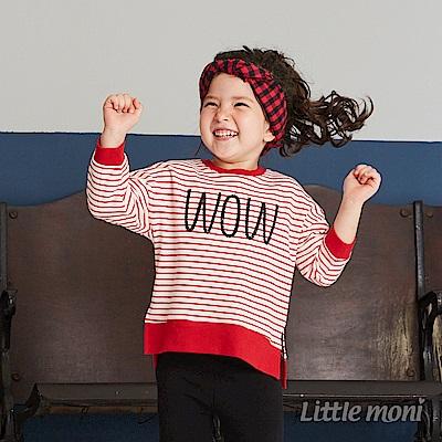 Little moni 圓領寬鬆條紋刺繡上衣(共2色)