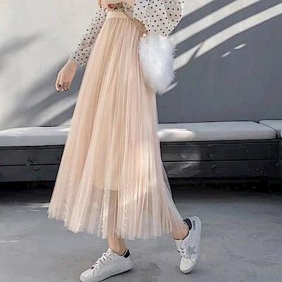 La Belleza鬆緊腰帶珍珠綴飾拼接百摺網紗裙長紗裙