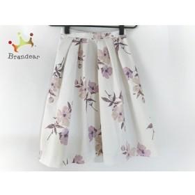 アプワイザーリッシェ スカート サイズ0 XS レディース 美品 白×ピンク×マルチ 花柄 新着 20190618