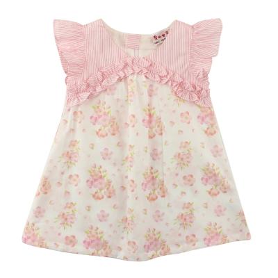 愛的世界 SUPERMINI 純棉荷葉邊前襟花卉半袖洋裝/2~4歲