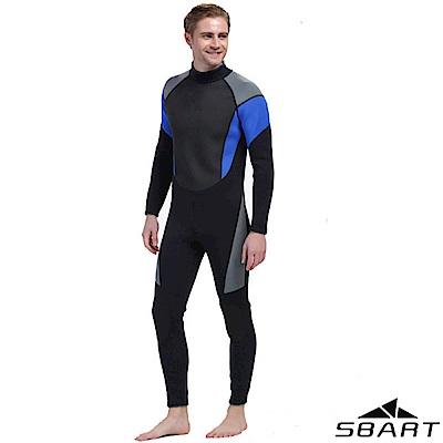 【SBARTY】男 3mm加厚連身式拉鍊彈性防曬潛水衣_黑