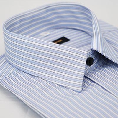 【金安德森】藍色白條紋黑扣吸排窄版長袖襯衫