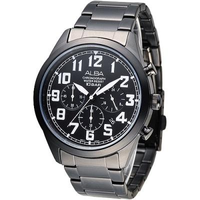 ALBA雅柏手錶 個性潮流三眼碼錶計時男錶-鍍黑x白刻(AT3525X1)/43mm 保固二年