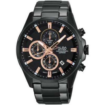 2016新品 ALBA  三眼計時腕錶(黑/42mm) VD57-X081SD