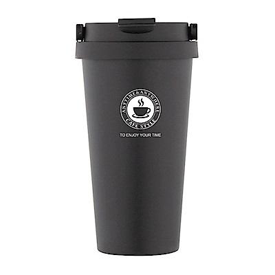 PUSH! 辦公室保溫咖啡杯冷泡茶杯沖泡杯304不鏽鋼保溫杯手提帶蓋500ML-E104