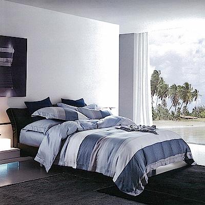 多利寶寢具 頂級純天絲雙人加大兩用被床包組(海風)