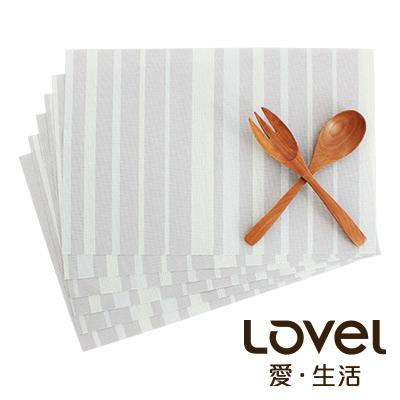 LOVEL 英倫手風作編織感餐墊-夜光瑩萊姆(6入組)