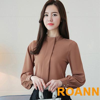 純色立領公主袖雪紡衫 (共四色)-ROANN