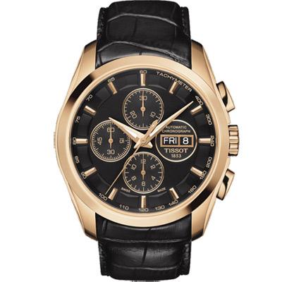 TISSOT 天梭 建構師系列三眼計時機械腕錶-黑x玫塊金/43mm T0356143605101