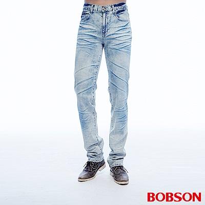 BOBSON 男款低腰壓摺淺藍直筒褲