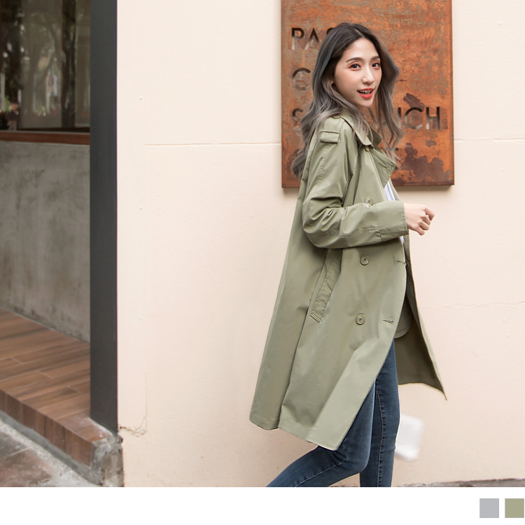 雙排釦大翻領長版風衣外套