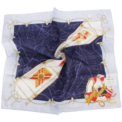 TRUSSARDI-飄洋藍圖海軍風領帕巾-紫藍
