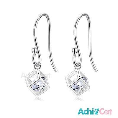 AchiCat 925純銀耳環 晶鑽方塊 純銀耳環