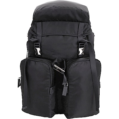 PRADA 雙釦設計機能尼龍後背包(黑色)