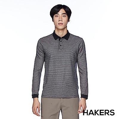 【HAKERS 哈克士】男款 天絲棉條紋保暖POLO衫(黑灰條)
