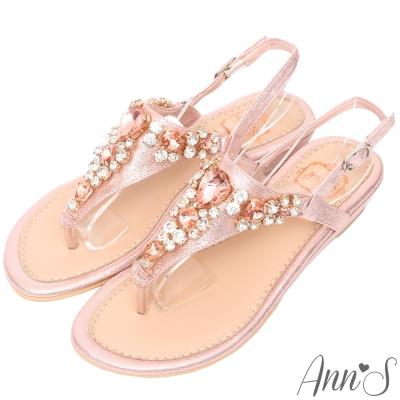 Ann'S 透徹水鑽寶石夾腳小坡跟夾腳涼鞋