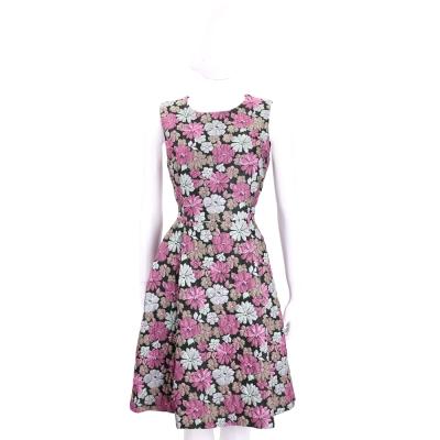 Max Mara-SHINE 黑x粉紫波斯菊圖案無袖洋裝