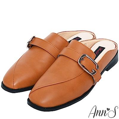 Ann'S  微帥氣 G扣帶平底穆勒鞋 棕