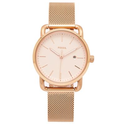 FOSSIL 簡約優雅風的米蘭帶手錶(ES4333)-淡香檳金色面/34mm