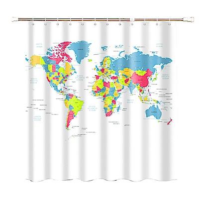 180x180cm 世界地圖浴簾一個+浴簾桿一支
