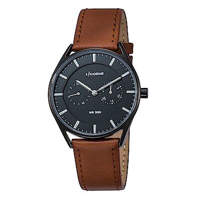 LICORNE力抗錶 經典時尚簡約手錶 黑x棕/40mm