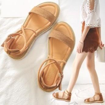 サンダル レディース 春夏 履きやすい サンダル グラディエーター 厚底シューズ ウェッジソール シュートヒール ストラップ靴 ビーチサン