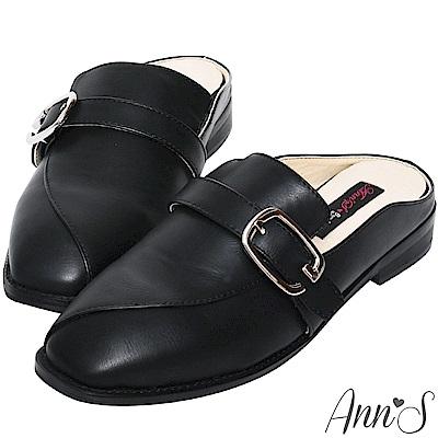 Ann'S  微帥氣 G扣帶平底穆勒鞋 黑