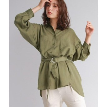 OZOC / オゾック [洗える・ベルト付]リネンブレンドバンドカラーロングシャツ