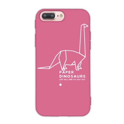 【TOYSELECT】iPhone SE2/7/8 幾何恐龍設計手機殼:雷龍 (桃紅色)