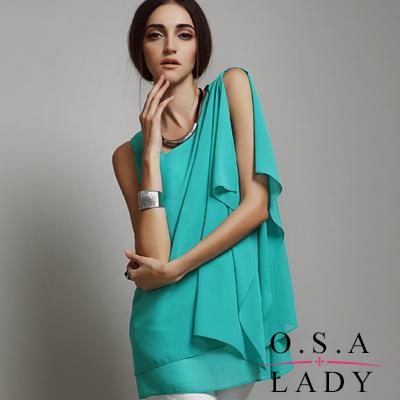 單肩荷葉邊飽和色雪紡衫  (共二色)-O.S.A LADY