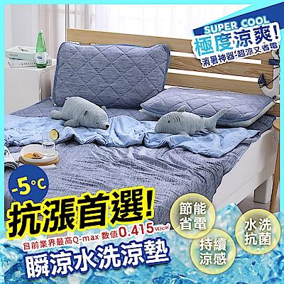 鴻宇 涼感-5度C瞬涼可洗抗菌保潔墊 單人三件組 SUPERCOOL接觸涼感
