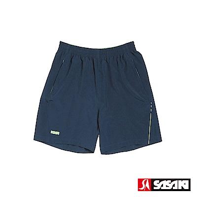 SASAKI 抗紫外線功能四面彈力網球短褲-男-丈青/艷綠