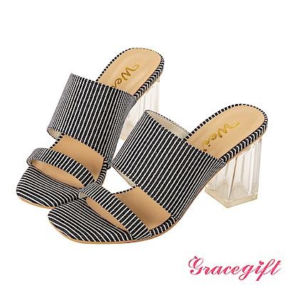 Grace gift X Wei-聯名素面寬帶透明高跟涼鞋 條紋