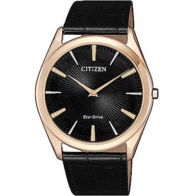 CITIZEN星辰 光動能 內斂沉穩薄型設計腕錶(AR3073-06E)-黑/39mm