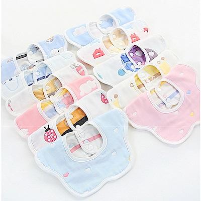 colorland【5入】六層紗布口水巾嬰幼兒圍兜