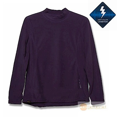 荒野 WildLand 女 彈性抗靜電保暖內刷毛衛生衣_深芋紫
