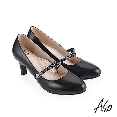 A.S.O 阿瘦 流金歲月 鞋腳背帶燙鑽高跟鞋 黑 10027000644-99