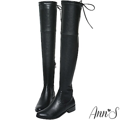 Ann'S XXS版 激窄不掉筒不滑落防滑膠條過膝靴  羊紋黑