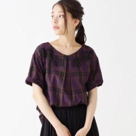 [マルイ]【セール】チェック刺繍ブラウス/サンカンシオン(レディス)(3can4on Ladies)