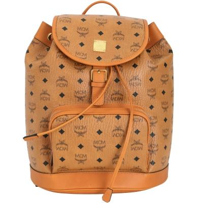 MCM 品牌圖騰單釦設計束口後背包(棕色)