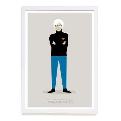 【摩達客】西班牙插畫家Judy Kaufmann海報掛畫-安迪沃荷 (附簽名)(含木框)