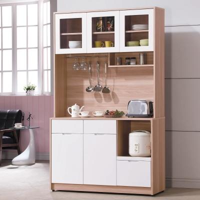 品家居 艾比4尺收納拉盤餐櫃組合-120x40.5x200cm-免組