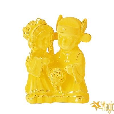 【Magic魔法金】中式結婚公仔( 2錢) 賀囍立體黃金