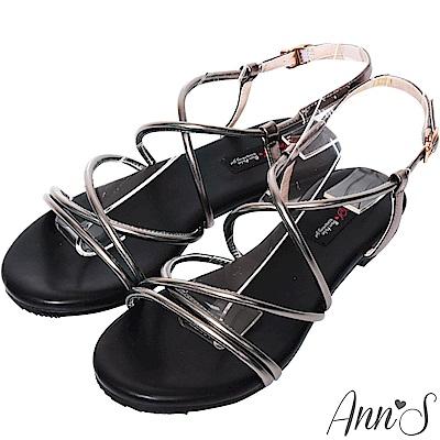 Ann'S現代羅馬-金屬色調多層帶寬版平底涼鞋-銀灰