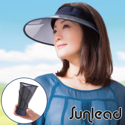 Sunlead 可捲曲收納。防曬涼感透明長帽簷中空帽