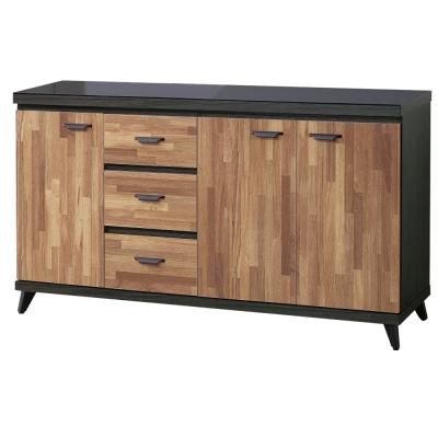 品家居 杜肯斯5尺木紋雙色玻璃面餐櫃-151x40x88cm免組