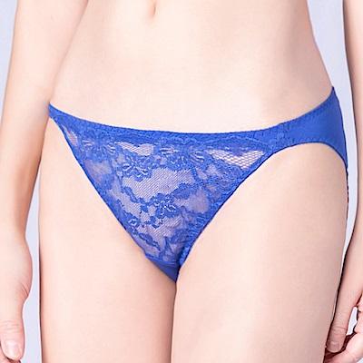 思薇爾 春舞花蝶系列M-XL蕾絲低腰三角內褲(深海藍)