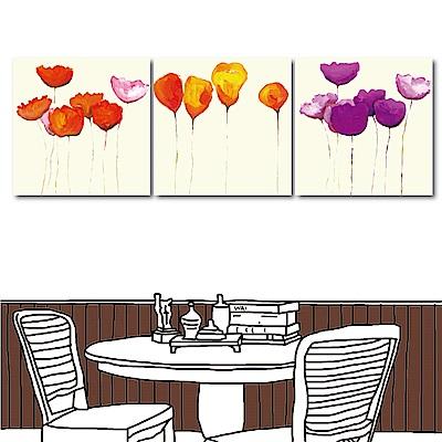 123點點貼 三聯式無框畫壁貼-紅橘紫30x30cm