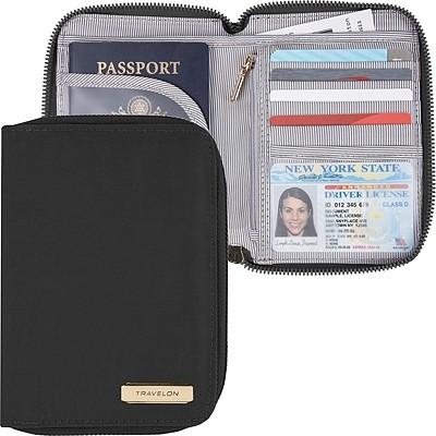 《TRAVELON》對開拉鍊護照包(黑)